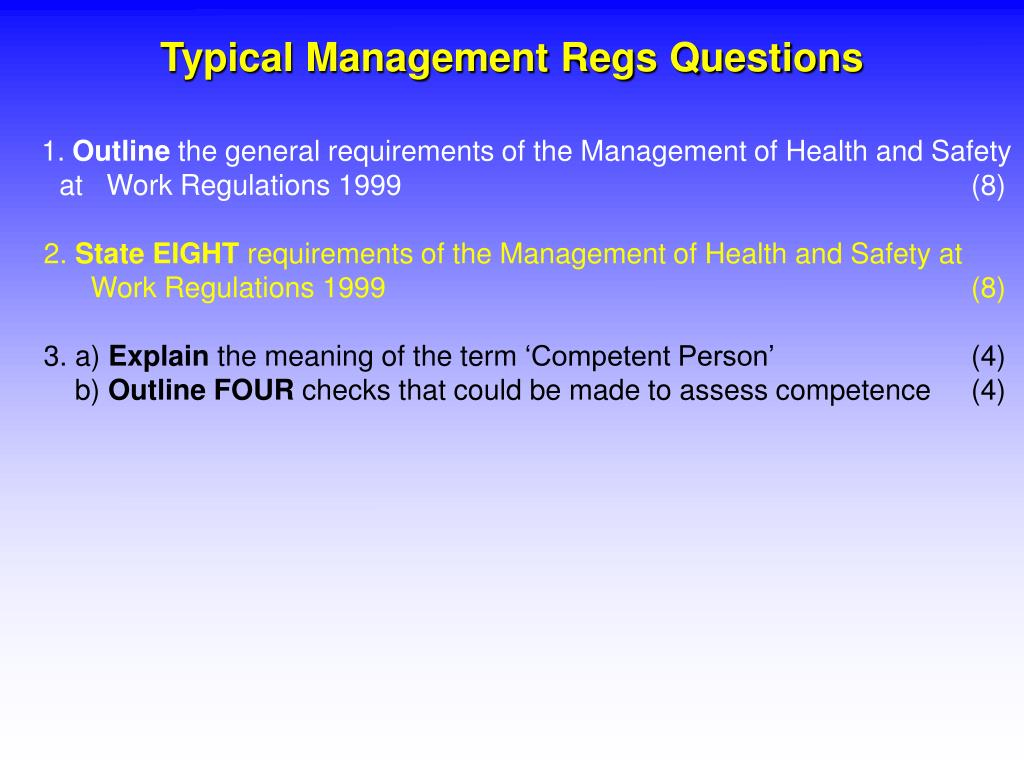 Typical Management Regs Questions