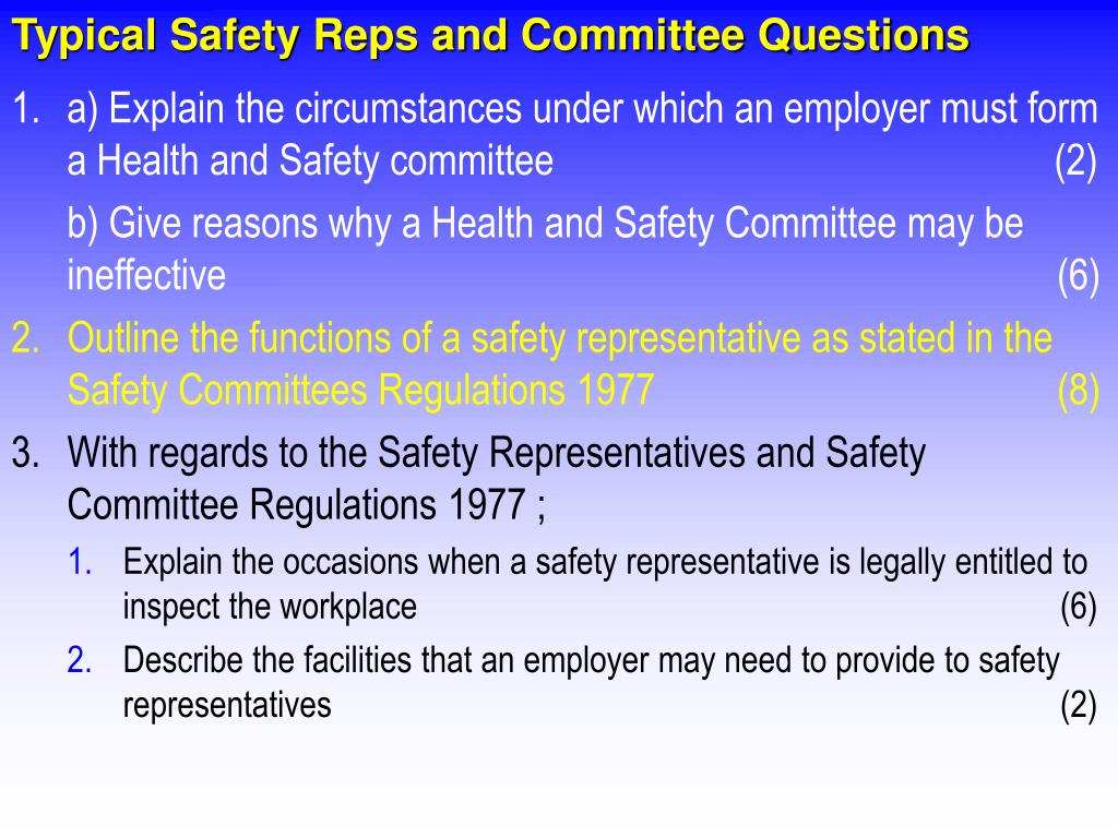 Typical Safety Reps and Committee Questions