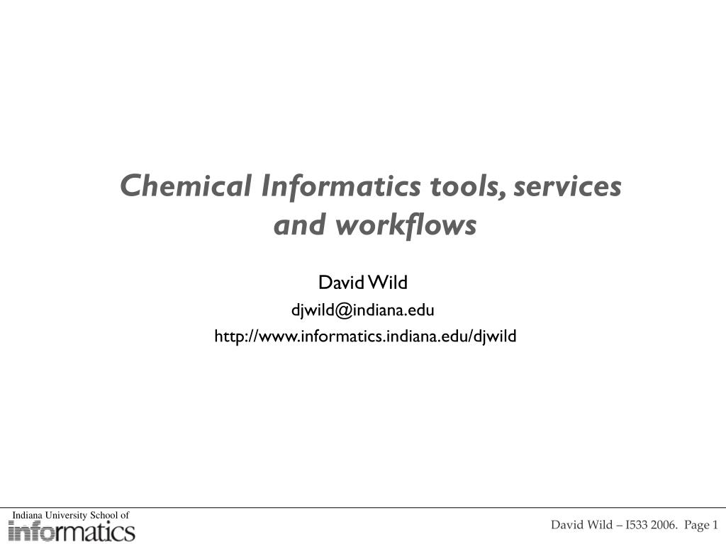 Chemical Informatics tools, services