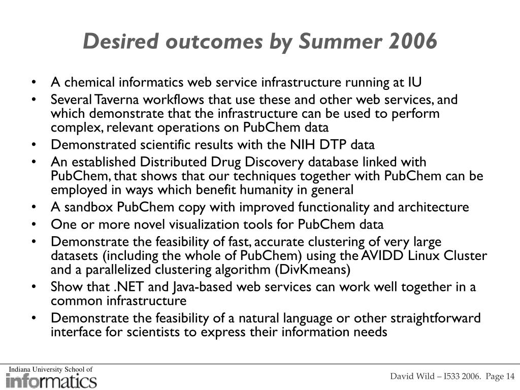 Desired outcomes by Summer 2006