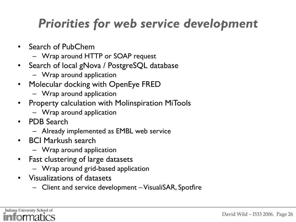 Priorities for web service development