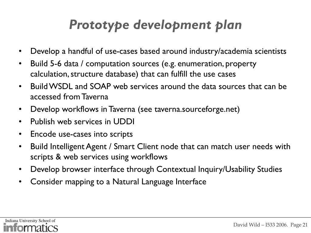Prototype development plan