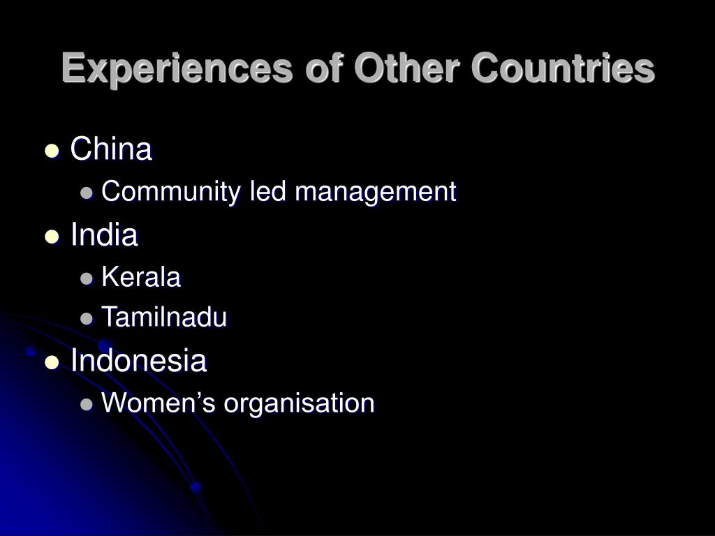 Experiences of Other Countries