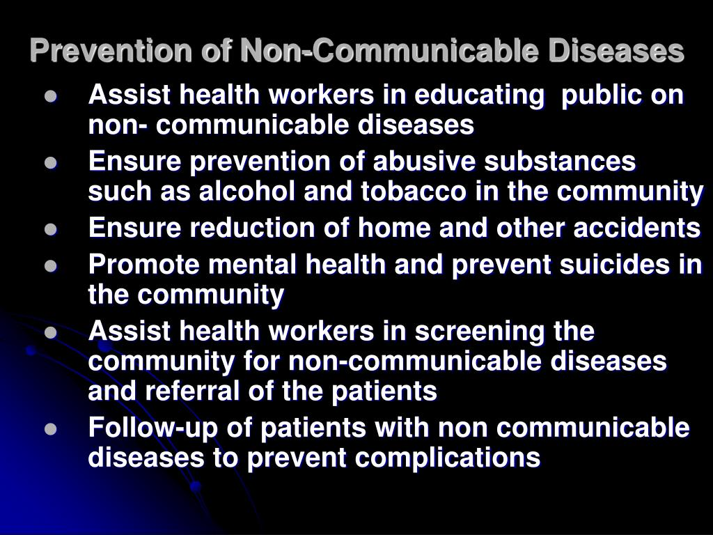 Prevention of Non-Communicable Diseases