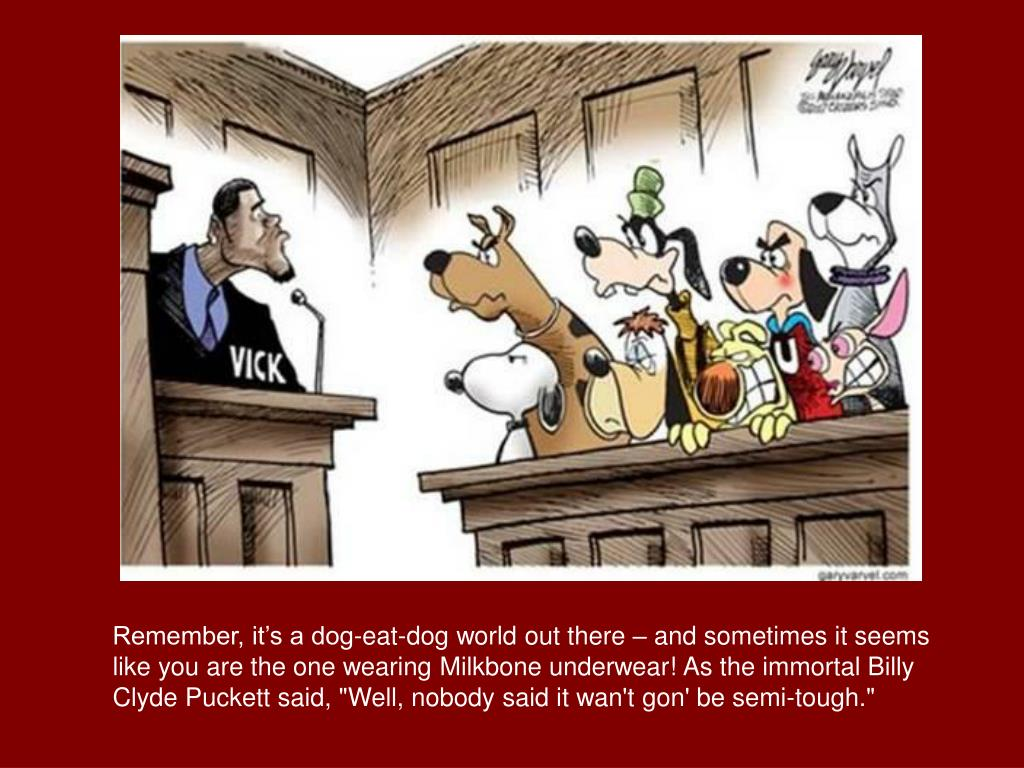 """Remember, it's a dog-eat-dog world out there – and sometimes it seems like you are the one wearing Milkbone underwear! As the immortal Billy Clyde Puckett said, """"Well, nobody said it wan't gon' be semi-tough."""""""