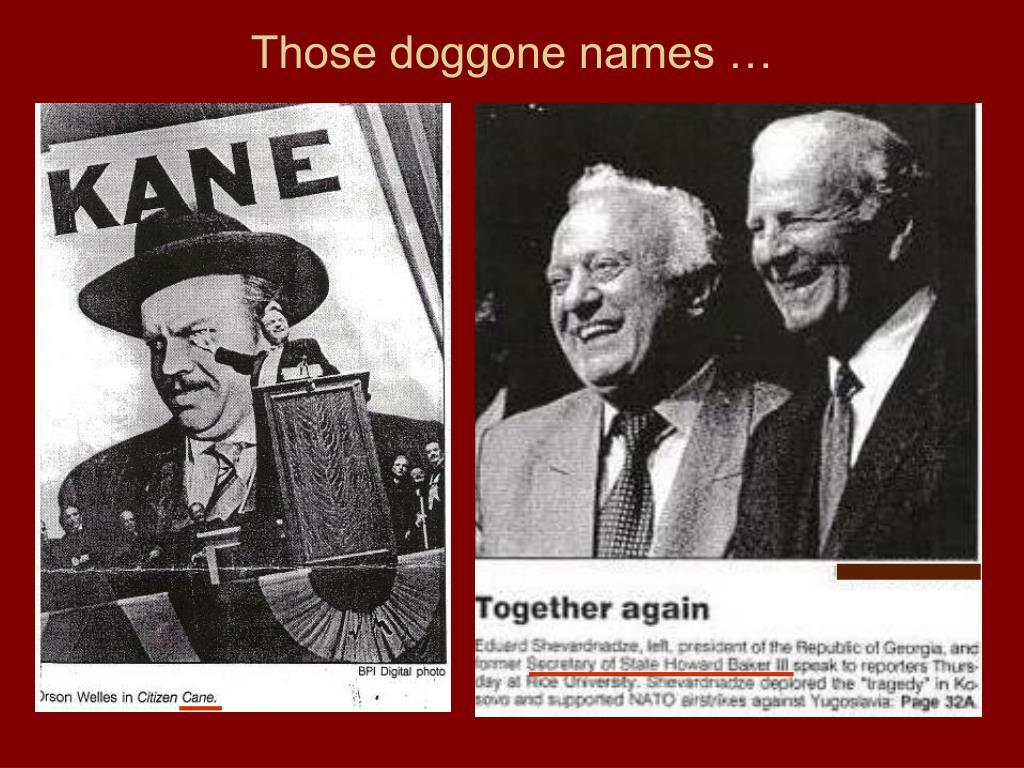 Those doggone names …