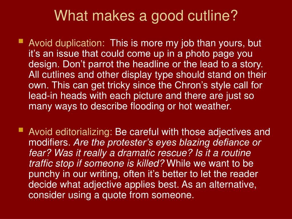 What makes a good cutline?