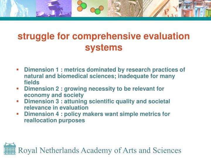 struggle for comprehensive evaluation systems