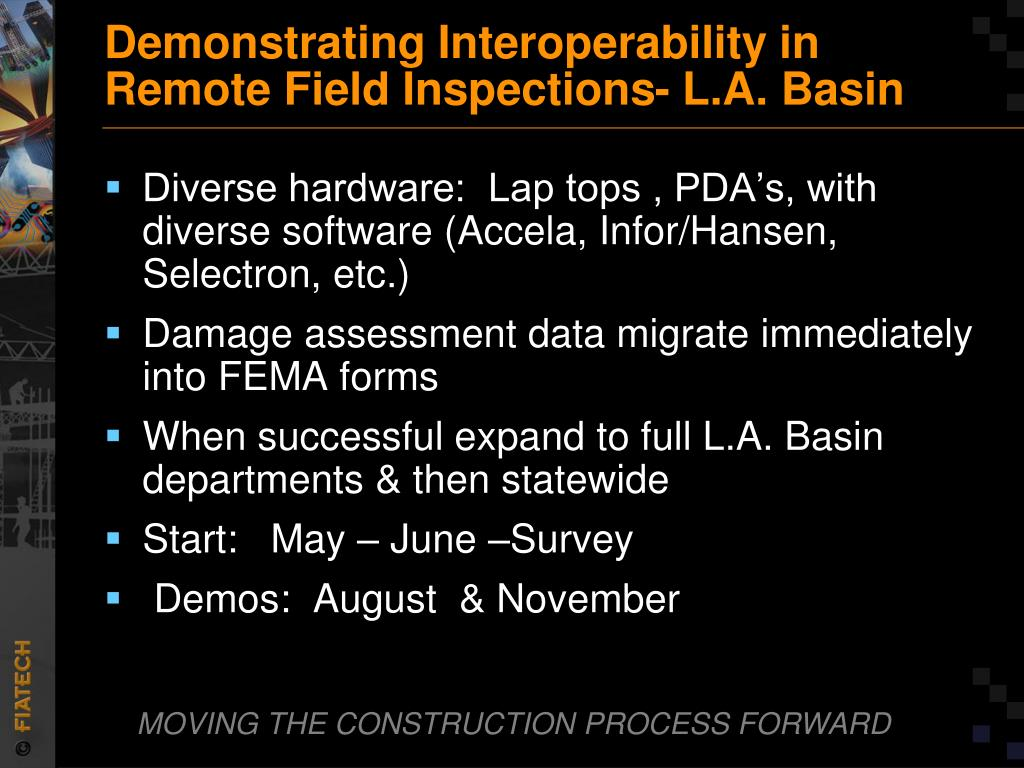 Demonstrating Interoperability in Remote Field Inspections- L.A. Basin