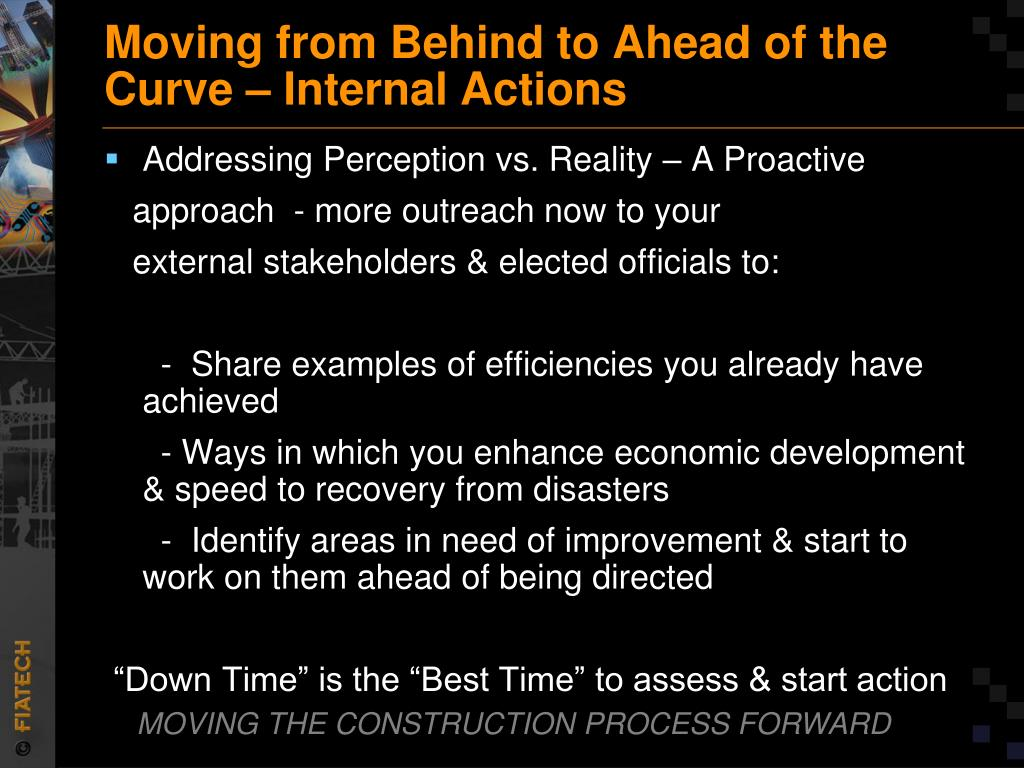 Moving from Behind to Ahead of the Curve – Internal Actions