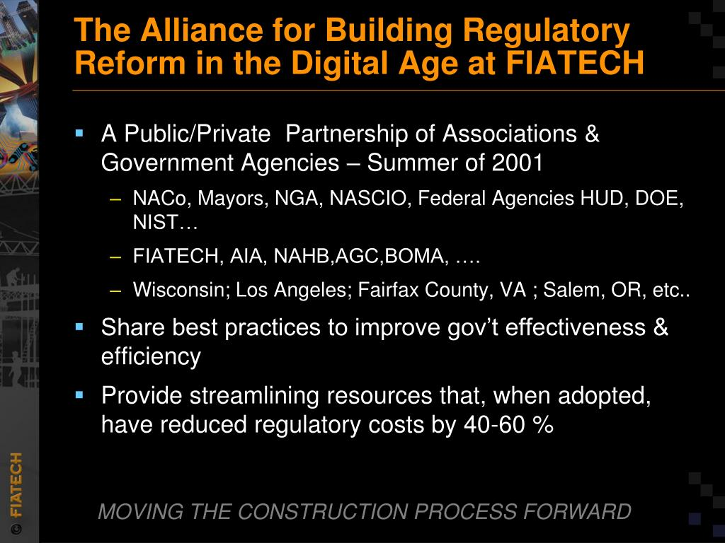 The Alliance for Building Regulatory Reform in the Digital Age at FIATECH
