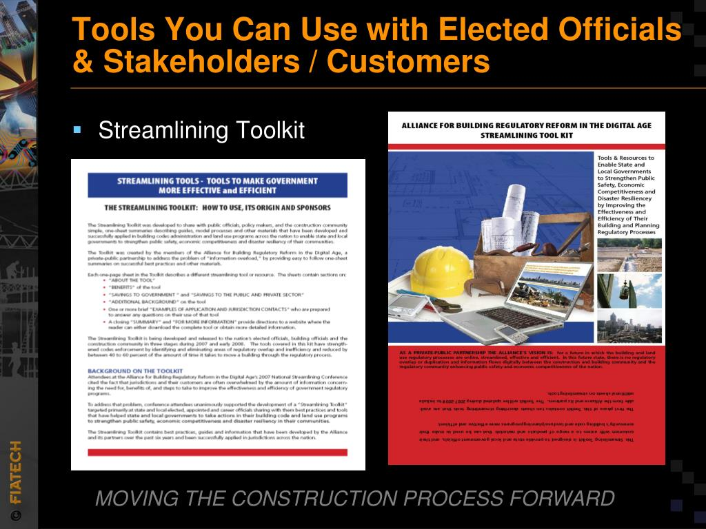 Tools You Can Use with Elected Officials & Stakeholders / Customers