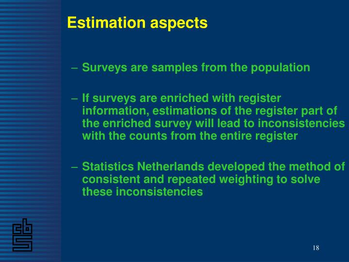 Estimation aspects