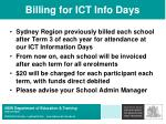 billing for ict info days
