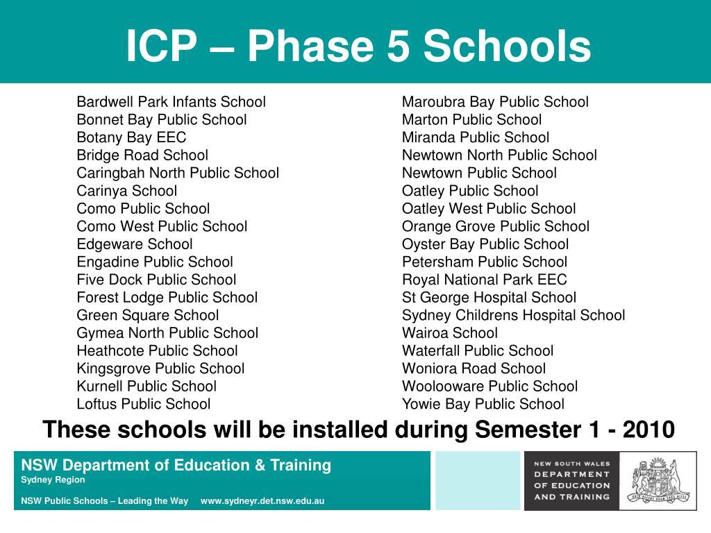 ICP – Phase 5 Schools