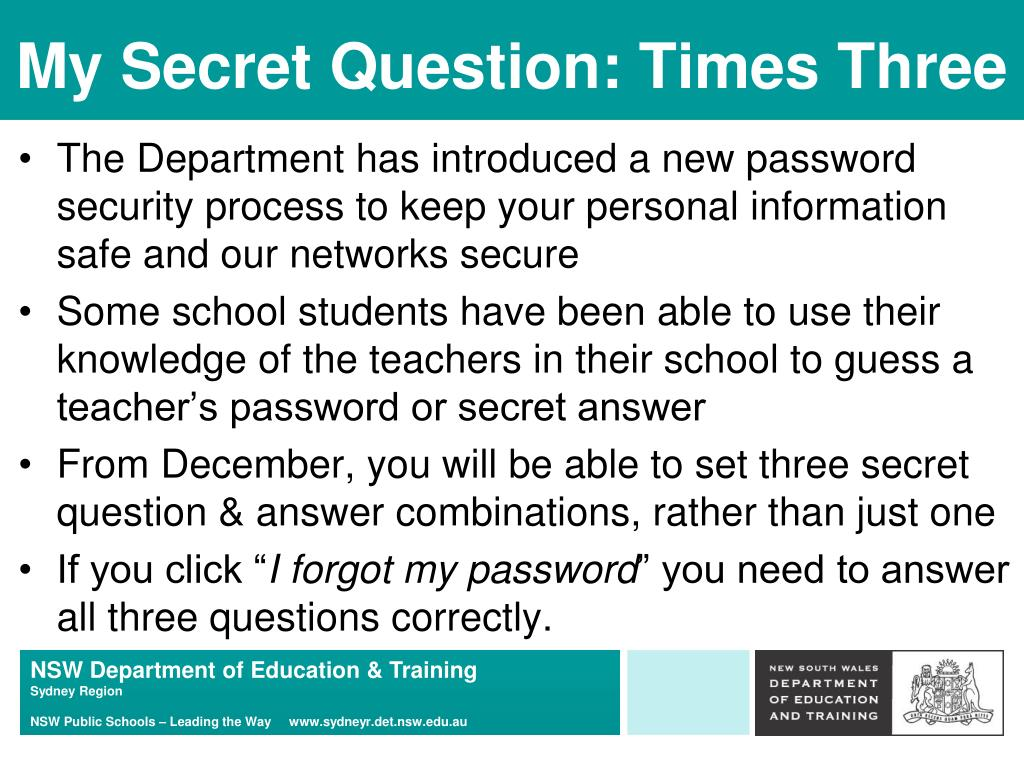 My Secret Question: Times Three