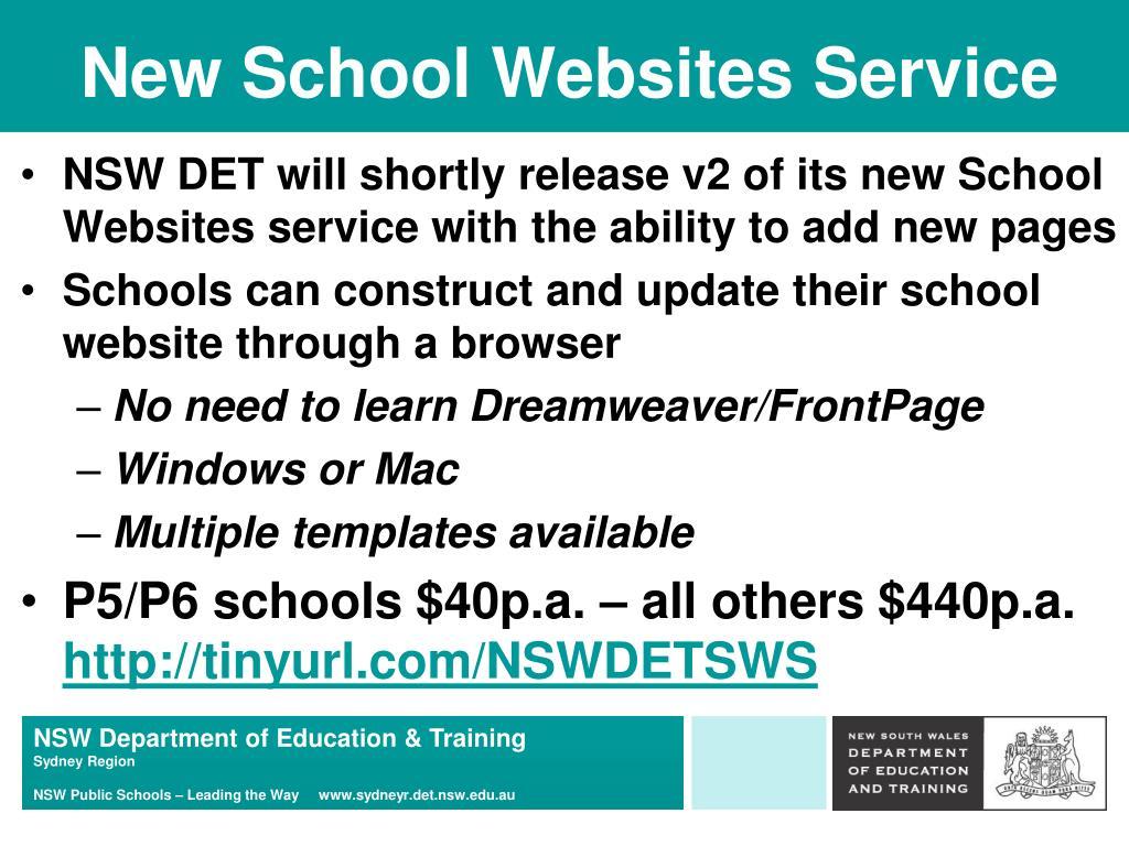 New School Websites Service
