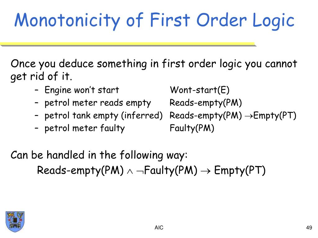 Monotonicity of First Order Logic