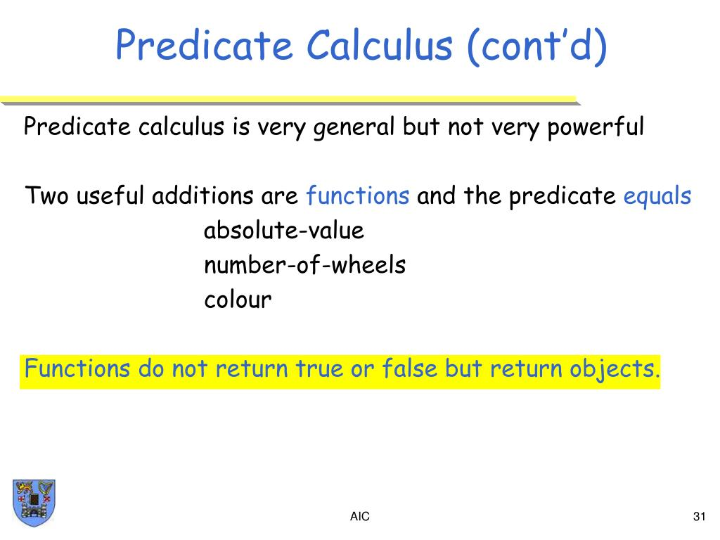 Predicate Calculus (cont'd)