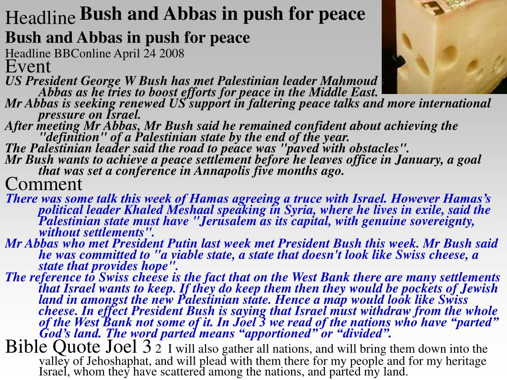 Bush and Abbas in push for peace