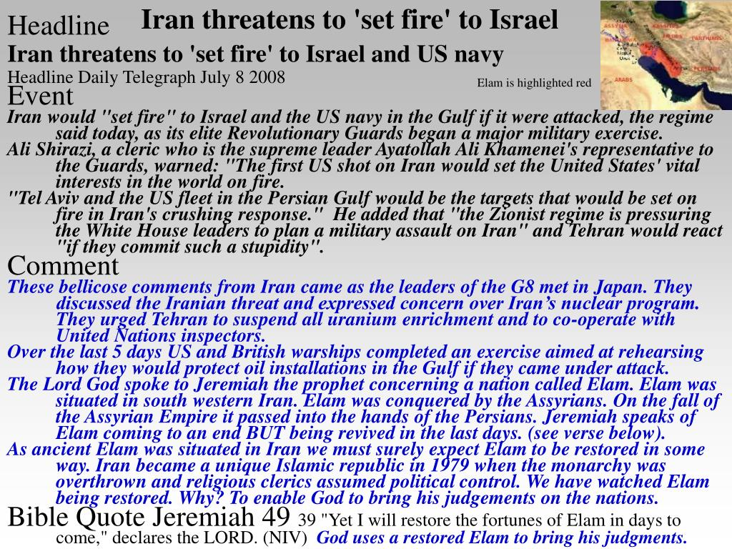 Iran threatens to 'set fire' to Israel