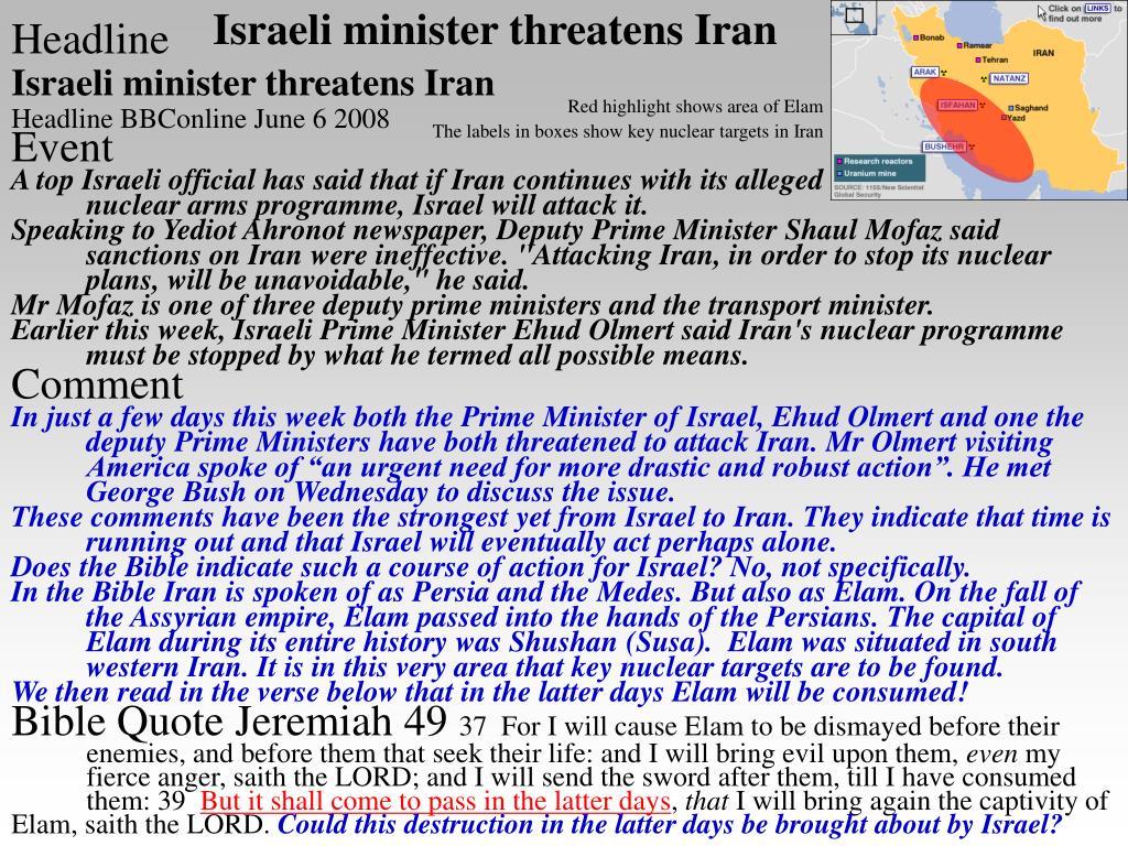 Israeli minister threatens Iran