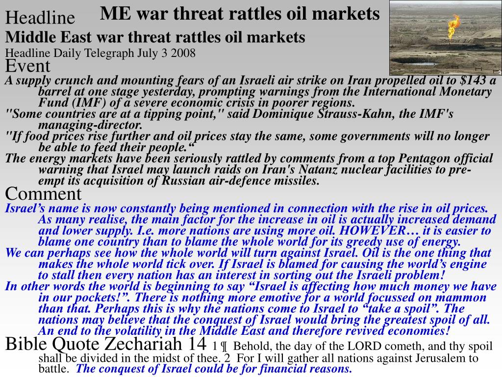 ME war threat rattles oil markets