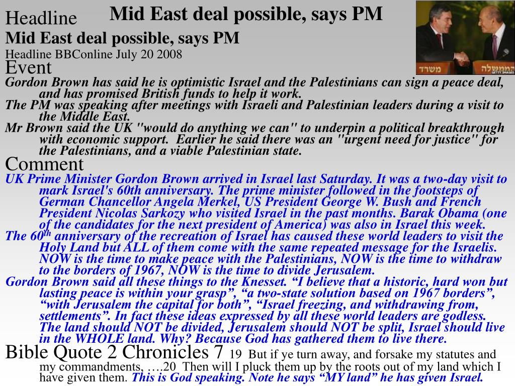 Mid East deal possible, says PM