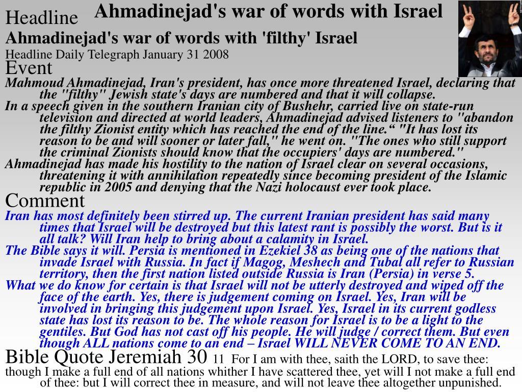Ahmadinejad's war of words with Israel