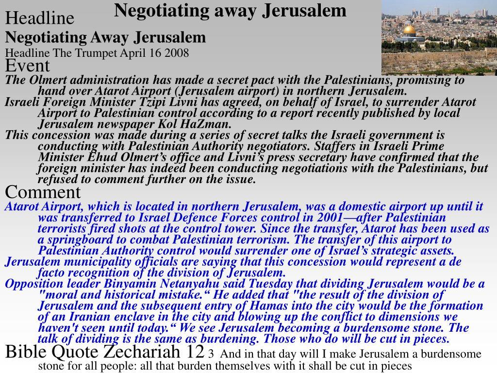 Negotiating away Jerusalem