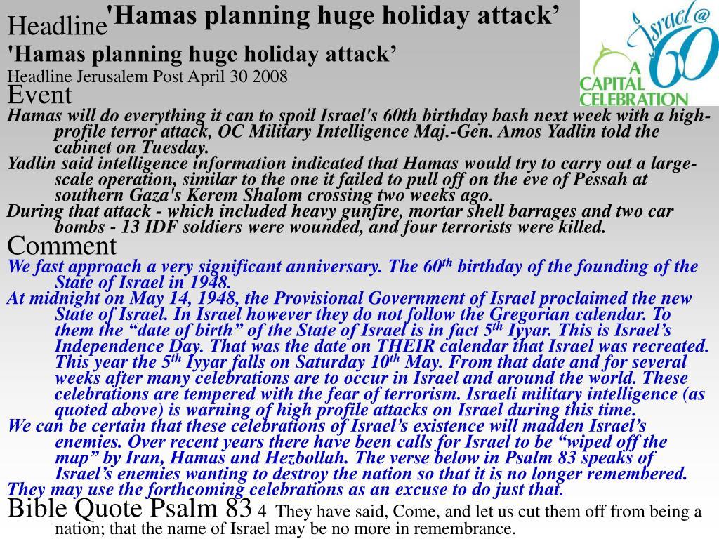 'Hamas planning huge holiday attack'