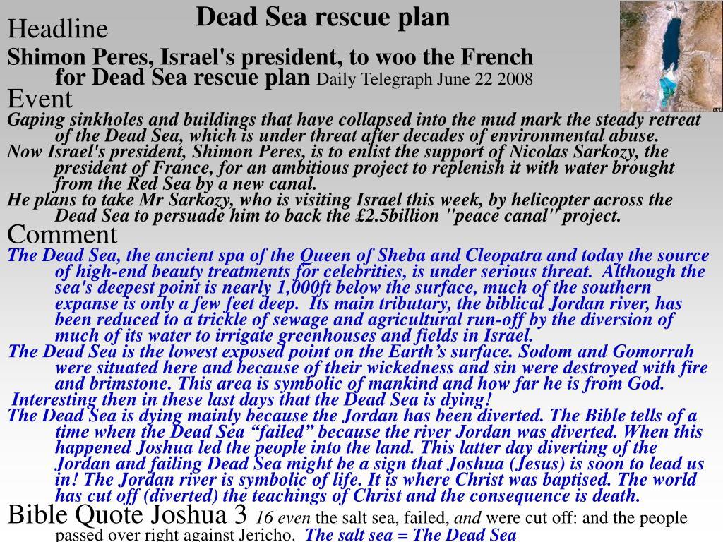 Dead Sea rescue plan