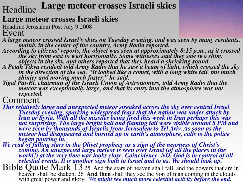 Large meteor crosses Israeli skies