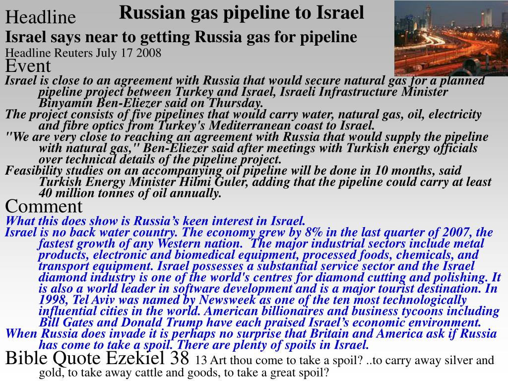 Russian gas pipeline to Israel