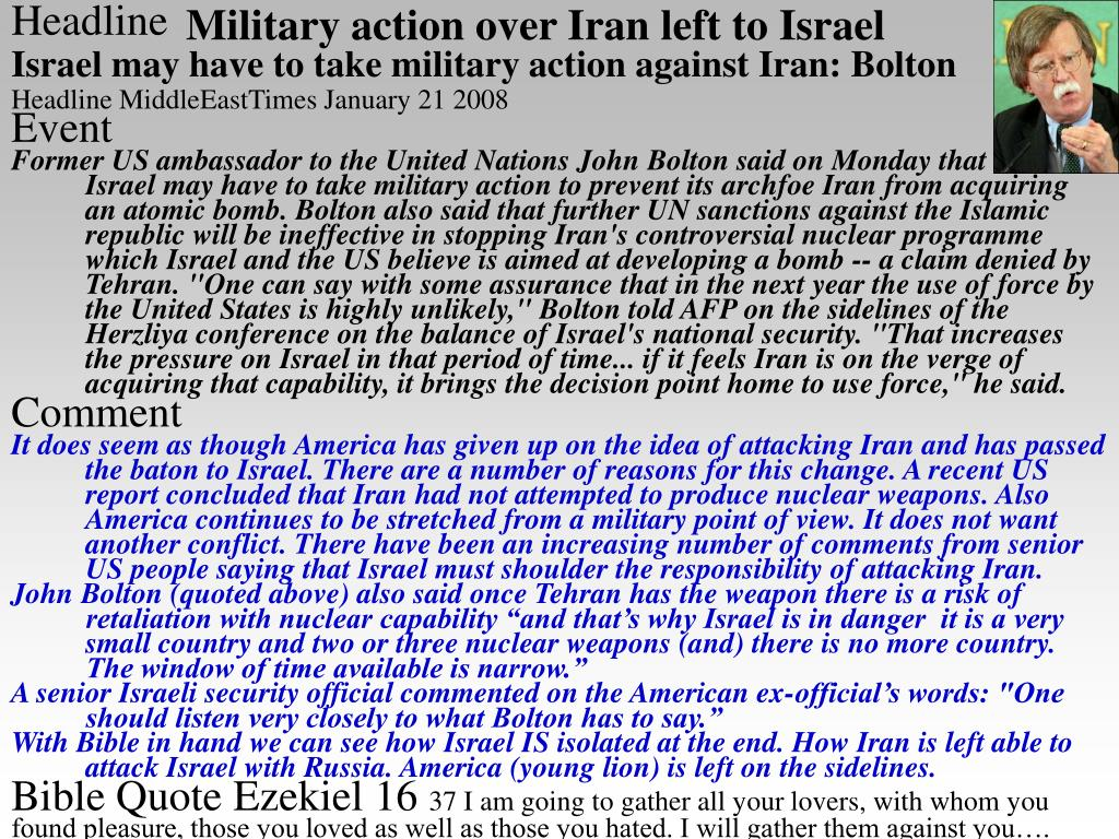 Military action over Iran left to Israel