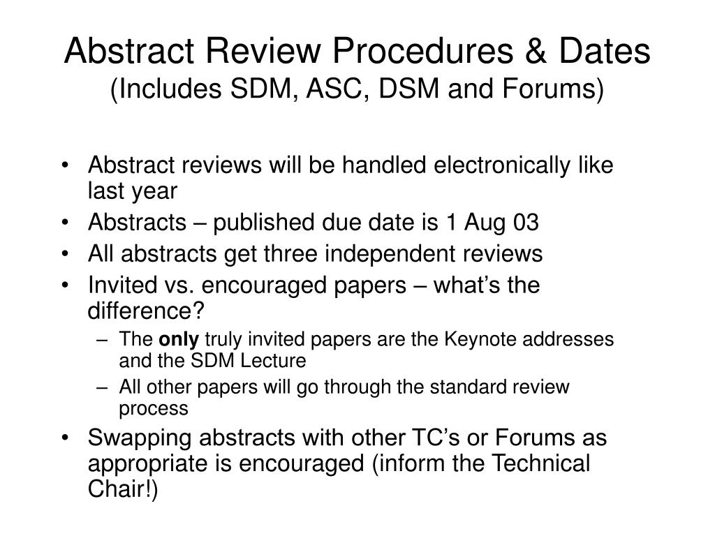 Abstract Review Procedures & Dates