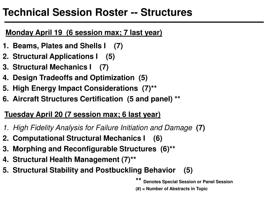Technical Session Roster -- Structures