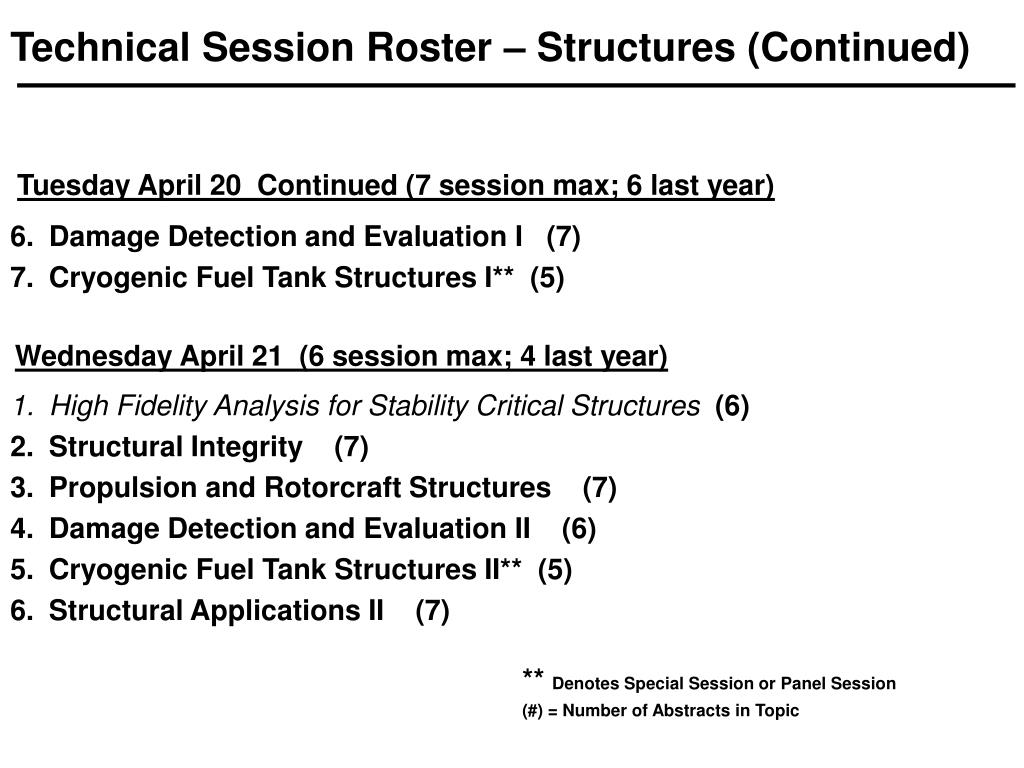 Technical Session Roster – Structures (Continued)
