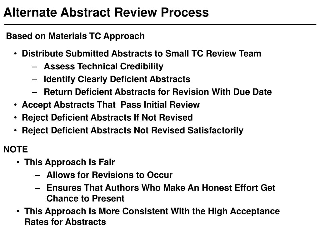 Alternate Abstract Review Process