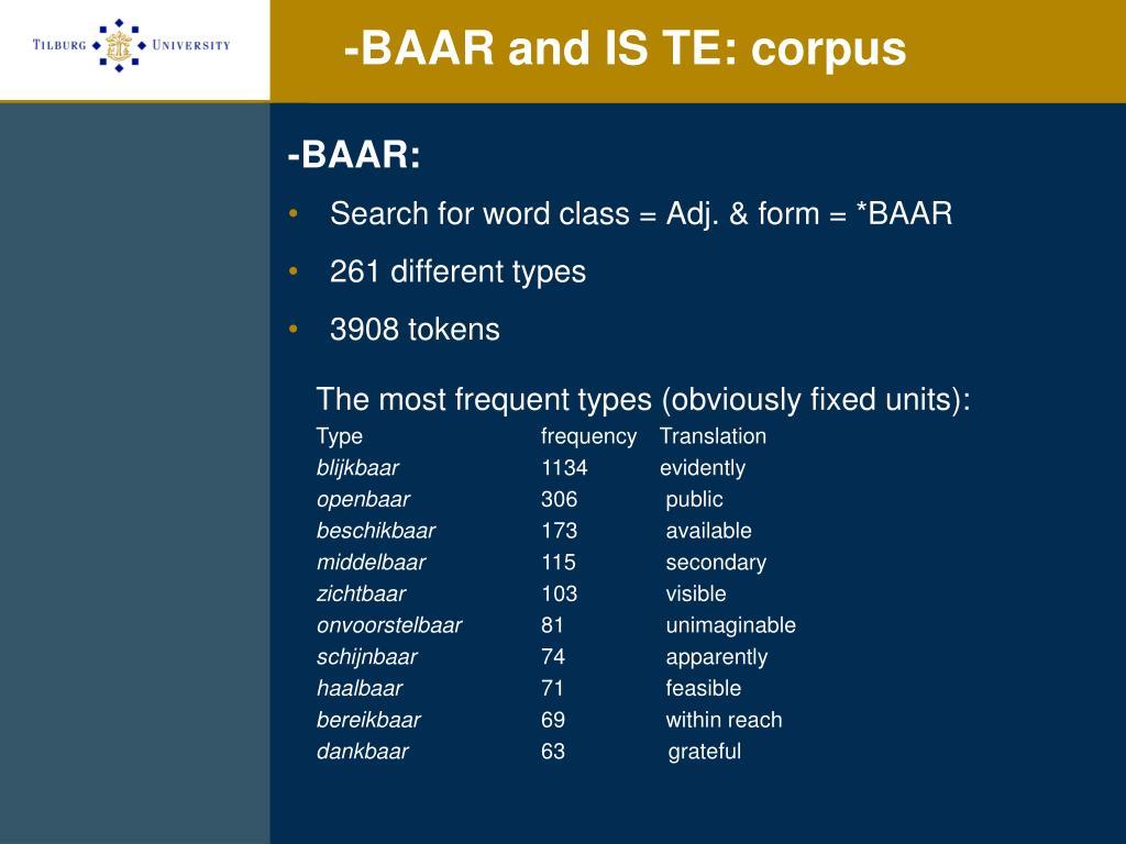 -BAAR and IS TE: corpus