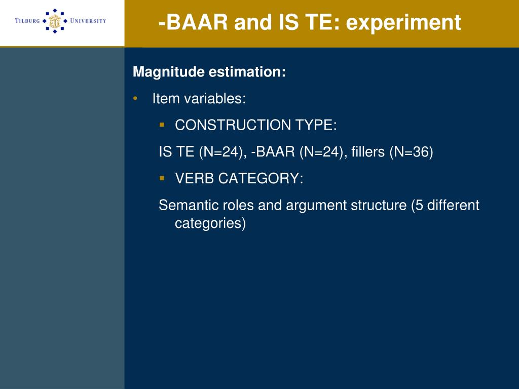 -BAAR and IS TE: experiment