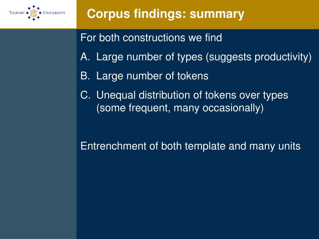 Corpus findings: summary