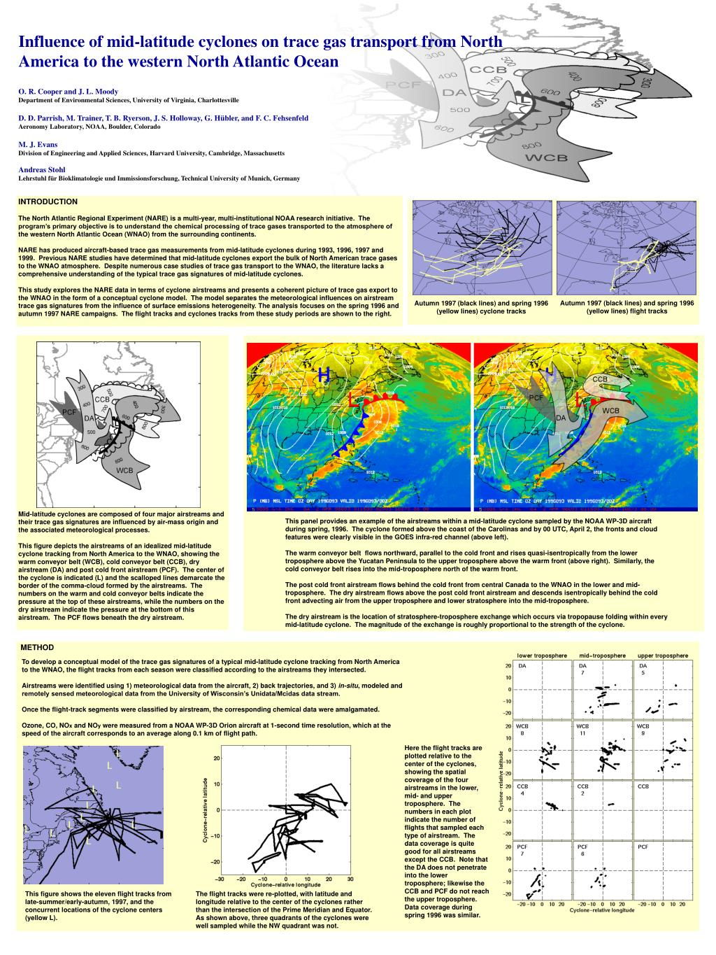 Influence of mid-latitude cyclones on trace gas transport from North America to the western North Atlantic Ocean