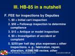 iii hb 85 in a nutshell22
