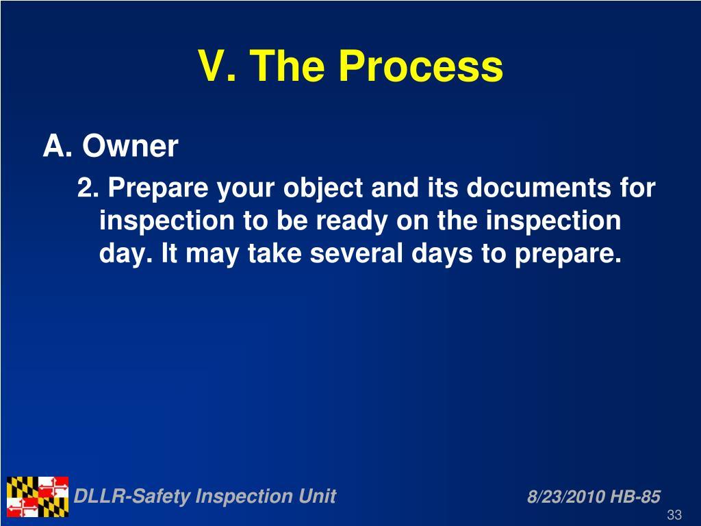 V. The Process
