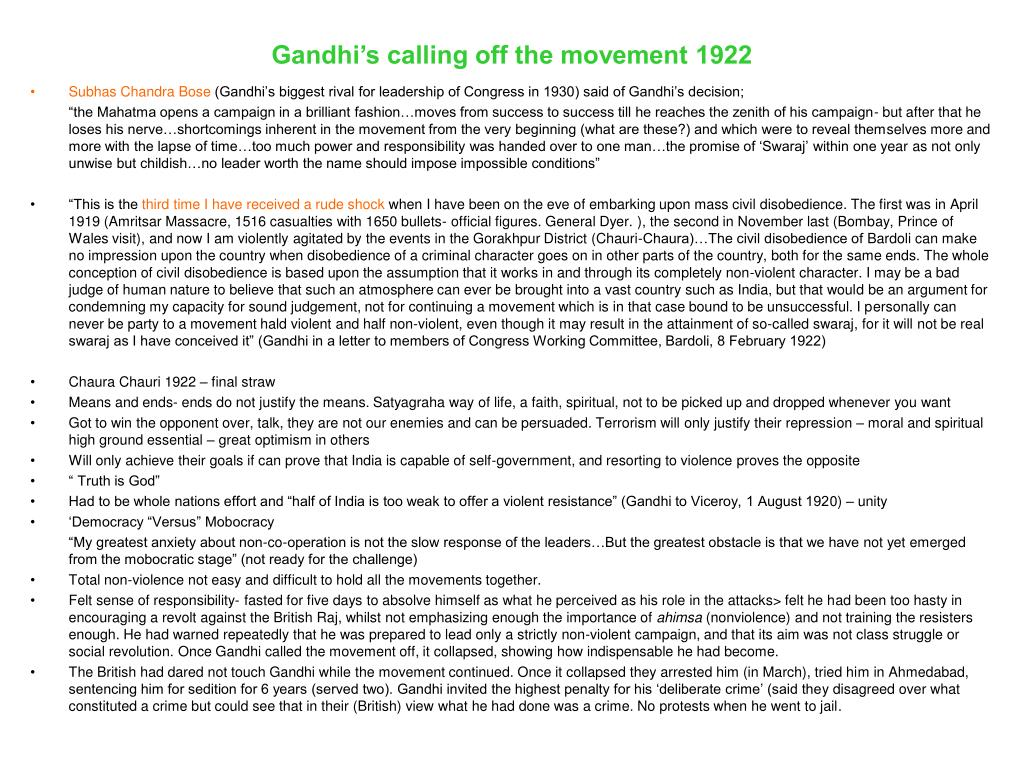 Gandhi's calling off the movement 1922