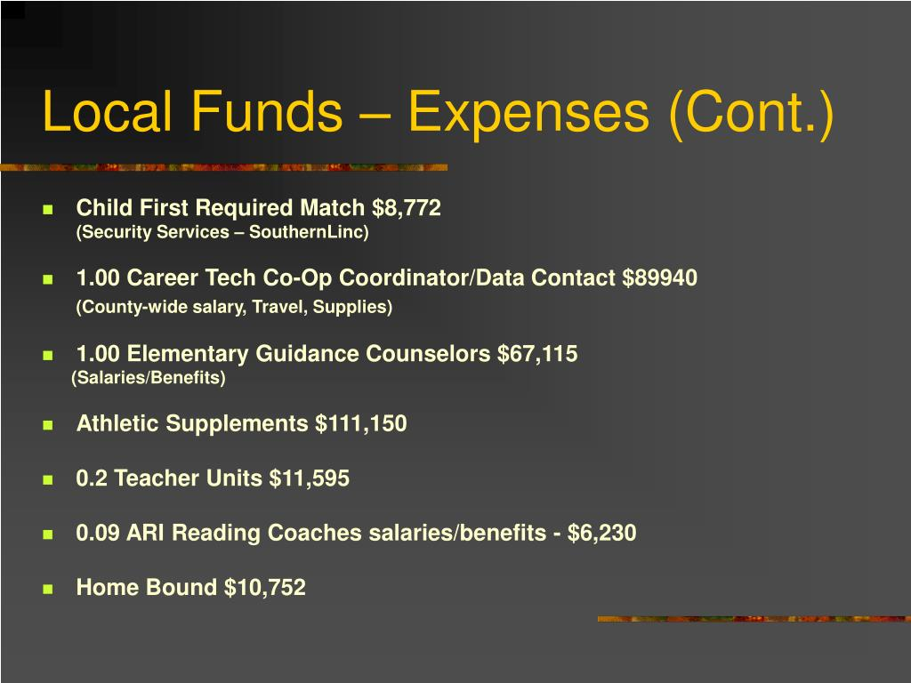 Local Funds – Expenses (Cont.)