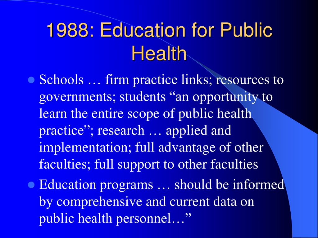1988: Education for Public Health