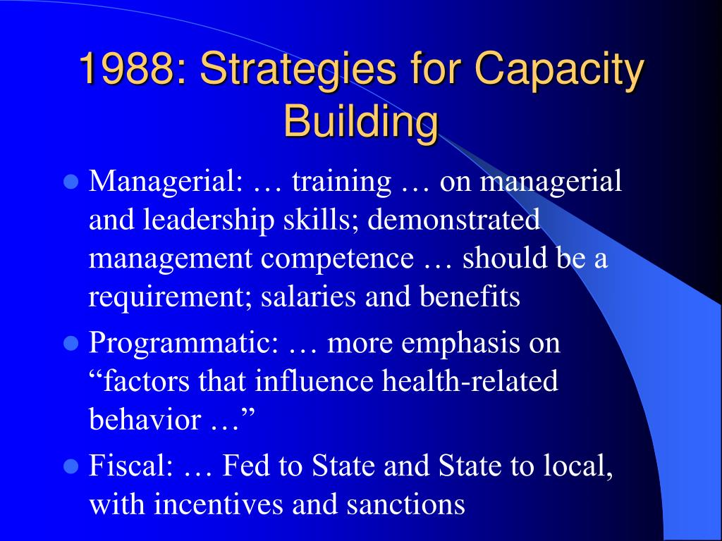 1988: Strategies for Capacity Building