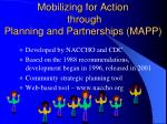 mobilizing for action through planning and partnerships mapp